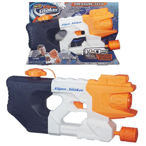 Nerf Super Soaker H2Ops Tornado Scream Blaster. This Super Soaker pressure-tech blaster has an easy refill cap.