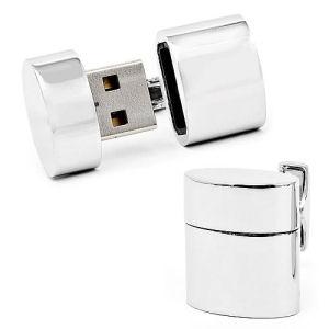 WiFi Hotspot and 2 GB USB Flash Drive Silver Oval Cufflinks
