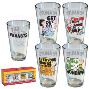 Peanuts Quotes Pint Glasses Set Of 4.