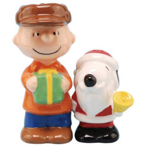 Peanuts Santa Snoopy and Charlie Brown Salt and Pepper Shakers