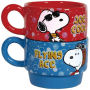 From the Westland Giftware Peanuts Collection. Peanuts Be Who You Want Stackable Mugs Set. Each stackable mug measures 2.5 Inches hidh and holds 6 Ounces. Hand wash only. Not dishwasher safe. Do not microwave.