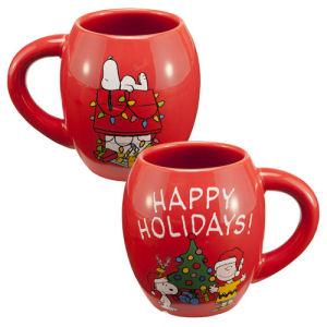 Peanuts Happy Holidays 18 Ounce Ceramic Oval Mug