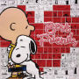 Peanuts Best Friends Embossed Tin Art. Tin sign measures about 13 inches square.