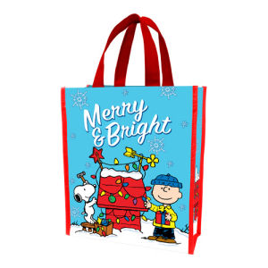 Peanuts Merry and Bright Christmas Small Recycled Shopper Tote