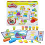 Play-Doh Shape and Learn Textures and Tools. Includes 3 texture stampers - 3 rollers - 3 double-sided playmats - scissors - stylus - 2 rolling cutters - Together Time Guide - 6 cans of Play-Doh Brand Modeling Compound. Ages 2 and up.