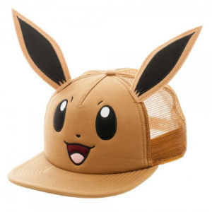 Pokemon Eevee Big Face Trucker Hat. Aadjustable snap belt in the back of the hat.