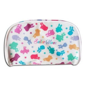 Sailor Moon Scouts Cosmetic Bag. Measures about 3.5 inches tall by 6.5 inches long.