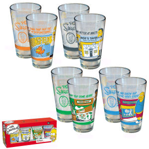 The Simpsons Greetings From Springfield Pint Glasses Set of 4