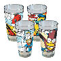 Simpsons Superhero Pint Glass 4 Pack. Bart as Bartman - Homer as the Pie Man - Milhouse as Fallout Boy - Radioactive Man!