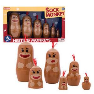 Sock Monkey Nesting Doll 6 Pack
