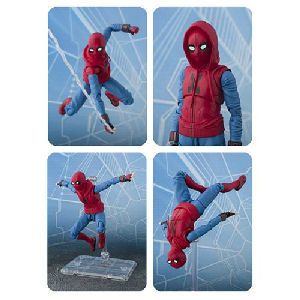 Spider-Man: Homecoming Spider-Man Homemade Suit SH Figuarts Action Figure. The action figure measures about 5.75 inches tall and is made of ABS and PVC plastic. Includes Interchangeable Hand Parts -  Interchangeable hooded head - Interchangeable Effect Pa