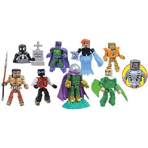 Marvel Minimates Series 77 Spider-Man Mini-Figure Case. Case contains 12 individually packaged 2-packs - 3 Black Costume Spider-Man and Kraven the Hunter - 3 Miles Morales and Prowler - 3 Mysterio and Hydro-Man -