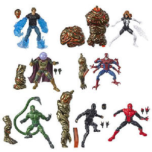 Amazing Spider-Man Marvel Legends Figures Wave 12 Case.  Case contains 8 individually packaged 6 Inch action figures - 2 Spider-Man (FFH Movie Suit) - 1 Spider-Man (FFH Black Movie Suit) - 1 Doppelganger Spider-Man - 1 Spider-Woman -
