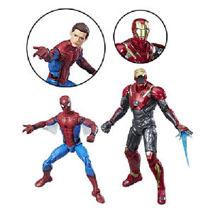 Spider-Man Homecoming Marvel Legends Spider-Man and Iron Man Action Figure 2-Pack. Action figures are highly-articulated and Measure 6 inches tall. Spider-Man and Iron Man Sentry action figures.