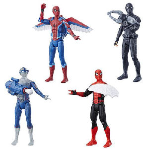 Spider-Man: Far From Home 6 Inch Action Figures Wave 1 Case. Case includes 8 individually packaged action figures - 2 Stealth Suit Spider-Man - 1 Glider Gear Spider-Man - 1 Concept Molten Man - 1 Under Cover Spider-Man - 2 Web Shield Spider-Man