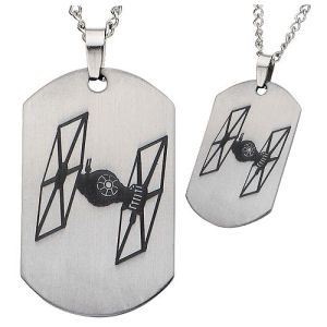 Star Wars Episode VII - The Force Awakens Tie Fighter Laser Etched Stainless Steel Dog Tag Pendant Necklace