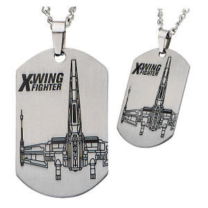Star Wars Episode VII - The Force Awakens X-Wing Starfighter Laser Etched Stainless Steel Dog Tag Pendant Necklace