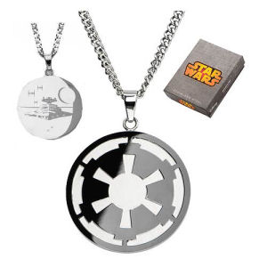 Star Wars Imperial Symbol and Death Star Etched Pendant Necklace