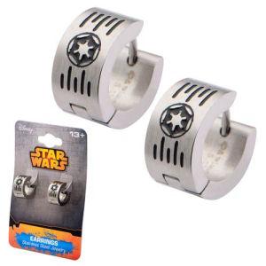 Star Wars Imperial Cog and Grate Logo Stainless Steel Huggie Earrings