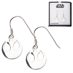 Star Wars Rebel Alliance Symbol Cut Out Dangle Sterling Silver Earrings