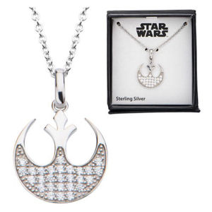 Star Wars Rebel Alliance Symbol Bling Pendant Sterling Silver Necklace