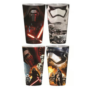 Star Wars Episode VII The Force Awakens Villain Poster Clear Full Wrap Pint Glass 4-Pack