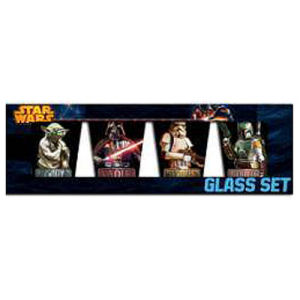 Star Wars Characters with Names Shot Glass 4 Pack