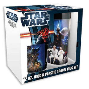 Star Wars 12 Ounce Ceramic Mug and 16 Ounce Plastic Travel Mug Set