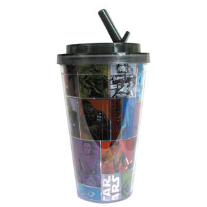 Star Wars Episode VII The Force Awakens Grid 16 Ounce Flip Straw Travel Cup