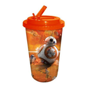 Star Wars Episode VII The Force Awakens BB-8 Orange 16 Ounce Flip Straw Travel Cup