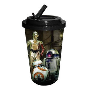 Star Wars Episode VII The Force Awakens The Droids 16 Ounce Flip Straw Travel Cup