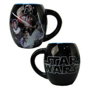 Star Wars Characters Black 18 Ounce Ceramic Oval Mug