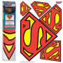DC Comics Superman Car Graphics Set. The DC Comics Superman Car Graphics Set includes 5 graphics  1 large - 2 medium - 2 small. The largest logo measuring approximately 16 inches wide by 12 inches tall. Can be ajusted druing installation but are not reusa