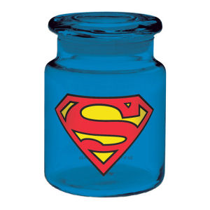 Superman Logo 6 Ounce Blue Glass Apothecary Jar