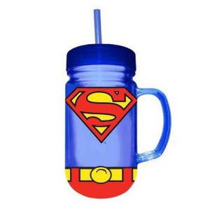 Superman Uniform 24 Ounce Plastic Mason Jar