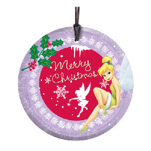Disney Fairies Tinker Bell Merry Christmas Hanging StarFire Glass Print