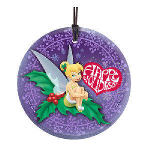 Disney Fairies Tinker Bell Happy Holidays Hanging StarFire Glass Print