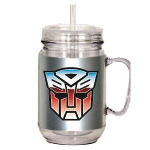 Transformers Acrylic 18 Ounce Mason Jar with Handle