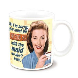 Retro Humor by Ephemera Confused with Maid 12 Ounce Ceramic Mug