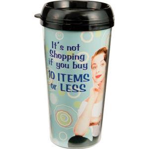 Retro Humor by Ephemera Shopping 16 Ounce Plastic Travel Mug