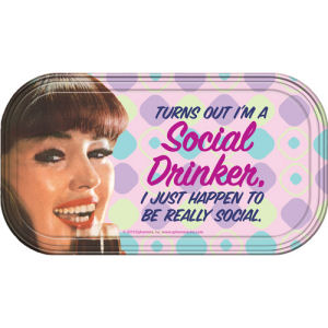 From the Retro Humor Collection. Social Drinker Magnetic Mini Tin Sign. Says Turns out im a social drinker. I just happen to be really social. Mini tin sign features a great design and 2 magnets on the back.