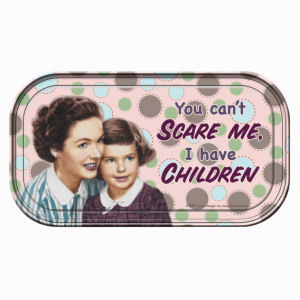 Retro Humor by Ephemera Raising Kids and Coffee Collection Scare and Children... Mini Tin Sign