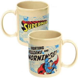 Superman Fighting Villains and Mornings Ceramic Mug