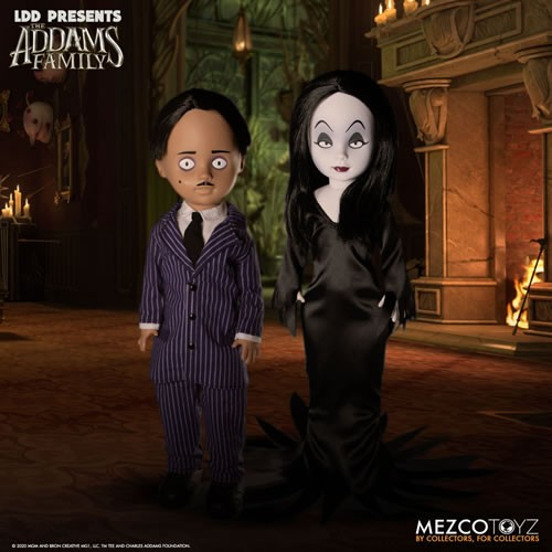 The Addams Family Gomez and Morticia Living Dead Dolls Set. Riddled with explosive energy, Gomez is a devoted husband who lives to lavish his wife. Gomez is suave and sophisticated, outfitted in a pinstripe suit and tie.