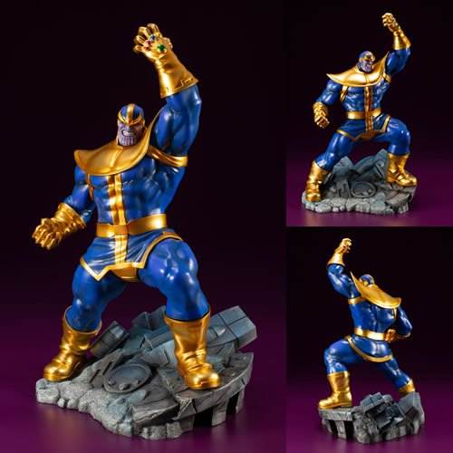 ArtFX+ Marvel Comics 1/10th Scale Thanos Statue. Measures 11 inches tall. Thanos brandishes his Infinity Gauntlet with the five Infinity Stones in an ominous pose, threatening all who dare to stand in his way.
