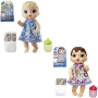 Baby Alive Lil Sips Baby Doll Assortment. Assortment is set includes - 1 LIL SIPS BABY BLONDE - 1 LIL SIPS BABY BRUNETTE. Dolls come wearing an adorable floral dress. Each doll includes a bottle and diaper.