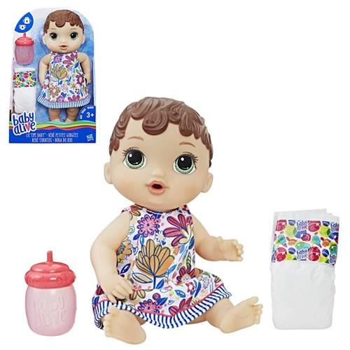 Baby Alive Lil Sips Baby (Brunette) Doll. Kids will love taking care of this adorable baby doll that drinks and wets! Baby Alive Lil Sips doll comes with a bottle accessory that kids can fill with water. Feed her water from her bottle and then, uh oh -- s