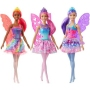 Barbie Dolls Dreamtopia Fairy Dolls Assortment. Each Barbie fairy doll wears a bright, sparkling bodice and colorful skirt in a unique silhouette. A pair of translucent wings with a touch of color adds to the fantasy fun, and a tiara completes the look.