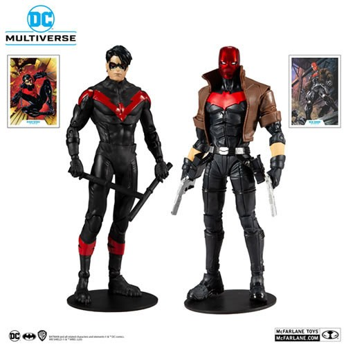 DC Comics The New 52 Nightwing Vs. Red Hood 7 Inch Scale Action Figure Multipack. Included collectable art cards with Red Hood / Nightwing artwork on the front, and character biography on the back.