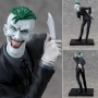 DC Comics New 52 The Joker ArtFX+ Statue. The Clown Prince of Crime is back and better more evil than ever in this highly detailed 1/10 scale statue. Display with your choice of included weapons and accessories. The Joker leans forward, taunting his arch